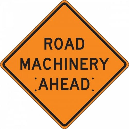 "Accuform FRC441RV, 48"" x 48"" Reflective Vinyl Roll-Up Construction Sign with Legend: ""Road Machinery Ahead"""