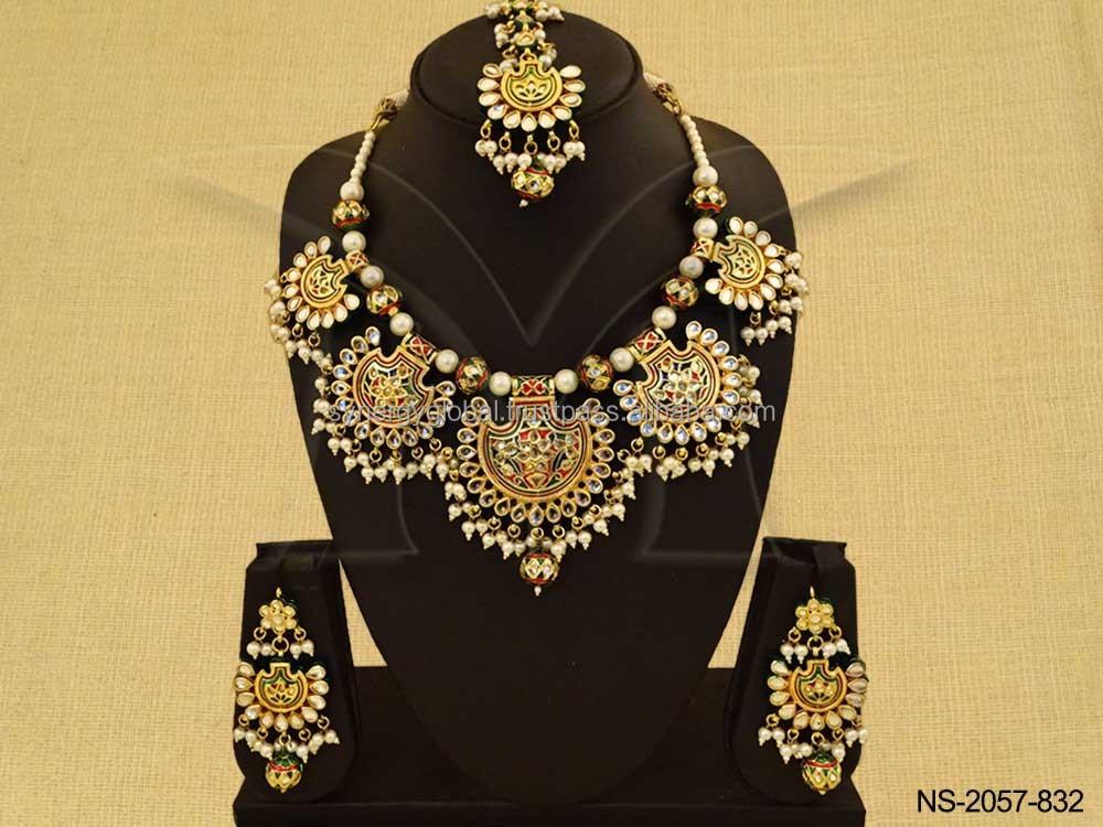 Kundan Heavy Bridal Choker Style Neckalce Set Online Wholesale