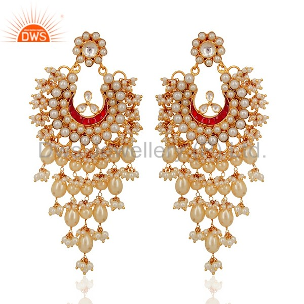 Handmade Gold Plated 925 Silver Pearl Jaipur Kundan Meena Earring Jewellery Manufacturer & Supplier