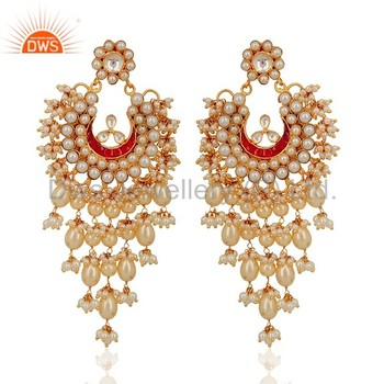 Handmade Gold Plated 925 Silver Pearl Jaipur Kundan Meena Earring Jewellery Manufacturer Supplier