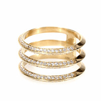 Solid 18kt Gold 3 Layered Ring set with Natural Diamonds, This Ring available in all three Gold Rose / Yellow / White