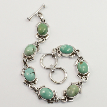 Brilliant Natural TURQUOISE Gemstones Bracelet 925 Sterling Silver Jewelry