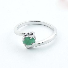 Solid 925 Sterling Silver Natural Cut Emerald Fashion New Ring US 7