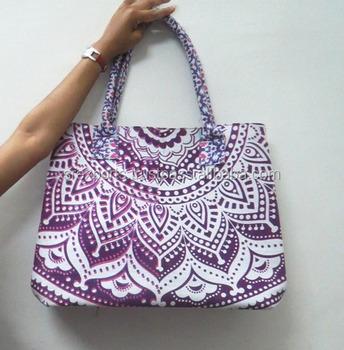 Indian Handmade Printed Cotton Bag Ping Purse Designer Beach