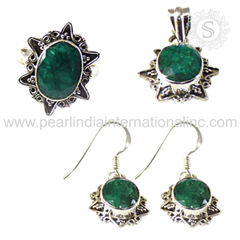 Professional reinforced emerald jewelry set 925 sterling silver wholesale emerald jewelry silver jewelry suppliers