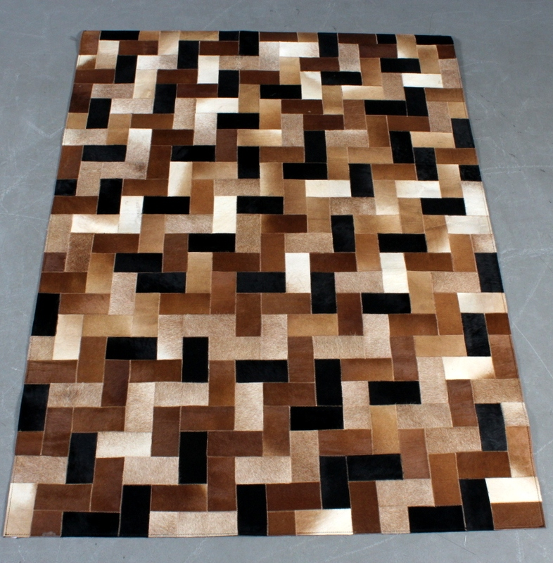 Second May Natural Leather Cow Hide Animal Skin Patchwork Area Carpet & Rugs