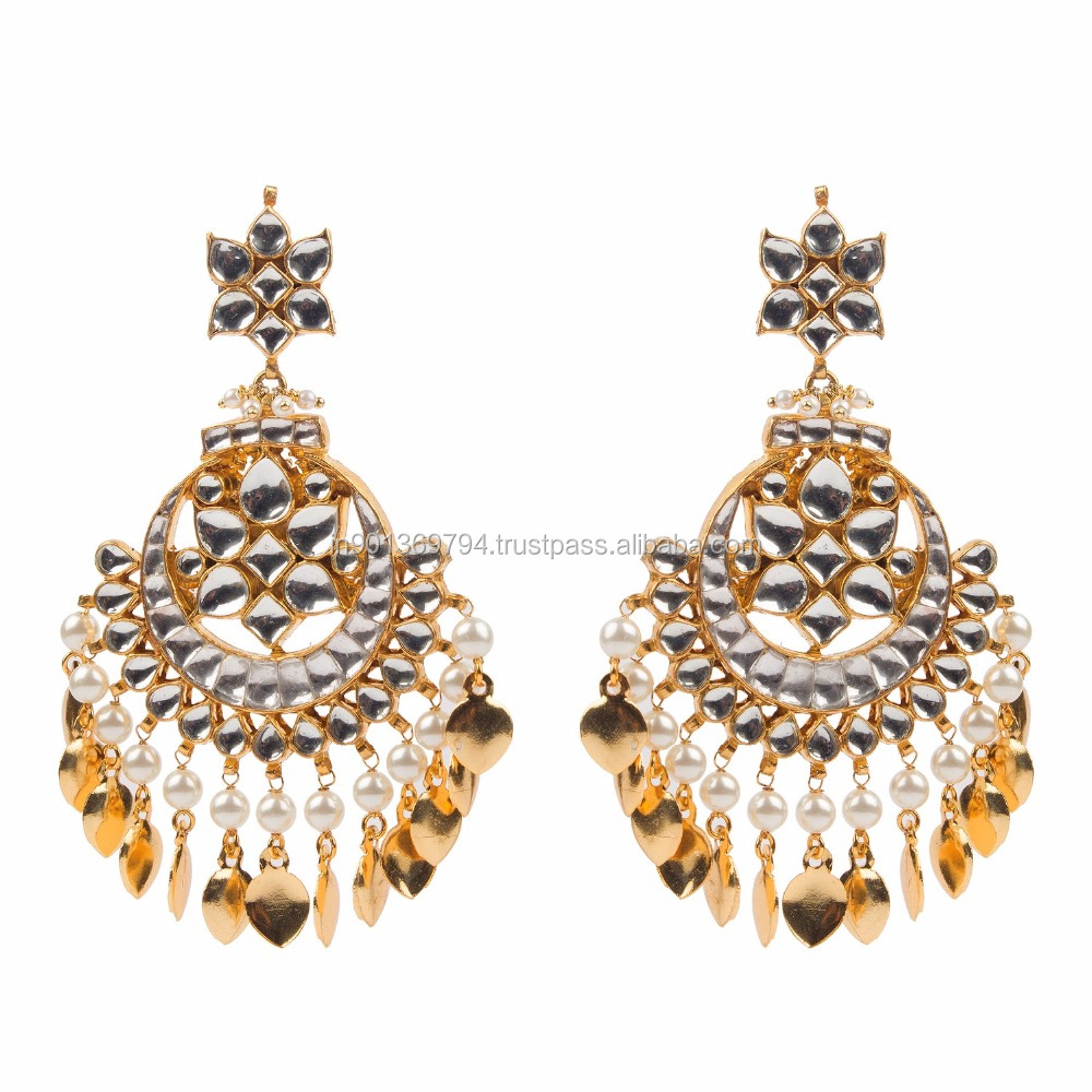 Big Round Chandbala Kundan Stone Pearl Beaded Peepal Pattis Golden ...