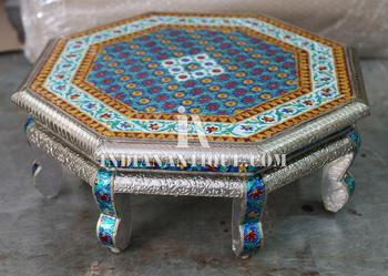 Admirable Indian Handmade Royal Furniture Meenakari Art Work Metal Sheet Fitted Octangular Wooden Low Stool Ia Asr 05 Buy Indian Wooden Stool With Meenakari Caraccident5 Cool Chair Designs And Ideas Caraccident5Info