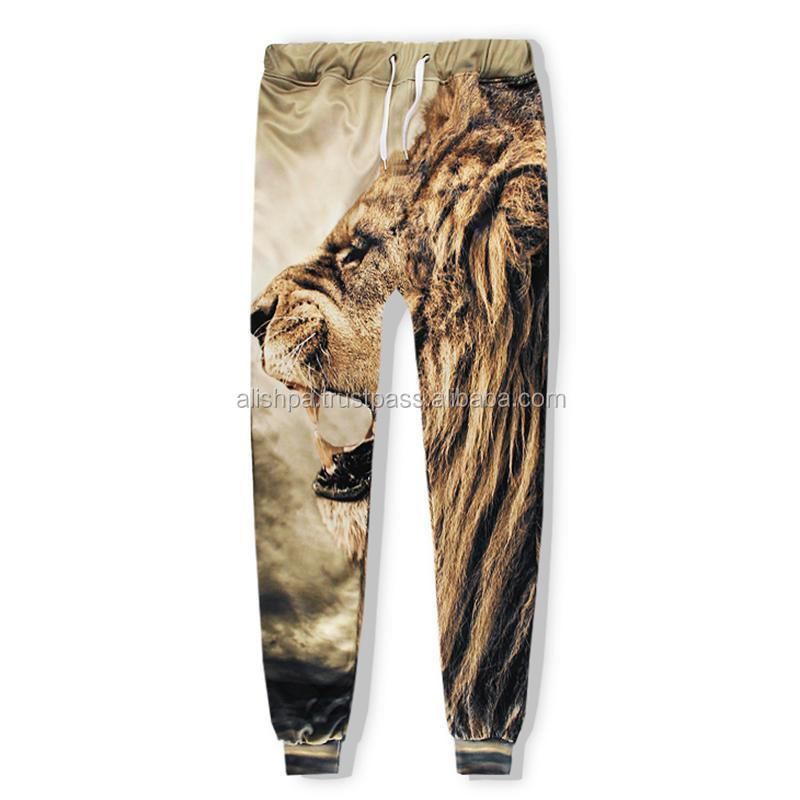 Men Cool Lion Roar 3D Print Urban Sweatpant Jogger Pant Sport Trousers Hiphop