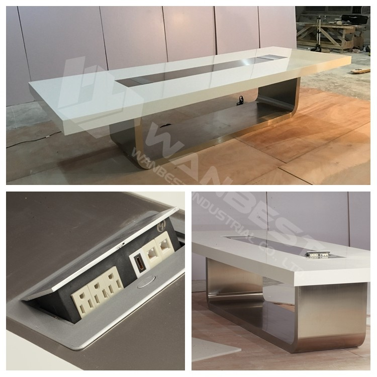 New Design Ovalshape Conference Table Monitor Flip For Room Table - Expanding conference table