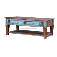 Indian Recycled or Reclaimed Wooden 2 Drawer Coffee Table With Bottom Shelf Shelves Manufacturer Wholesale Supplier