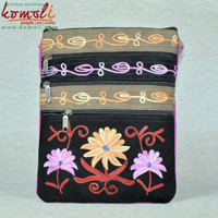 Multi Pocket Floral Design Handmade Suede Leather Sling Vietnam type embroidery bag