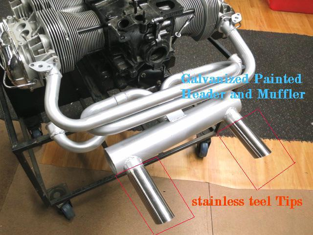 VW VOLKSWAGEN BEETLE EXHAUST SYSTEM GALVANIZED STAINLESS