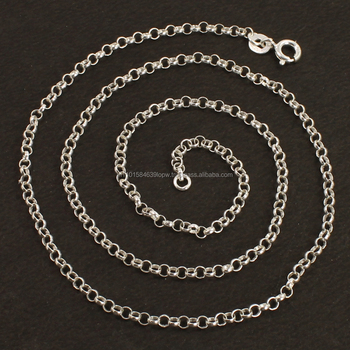 Wholesale 2mm 925 Solid Sterling Silver Jewelry Necklace Rolo Chain 18inch 46cm