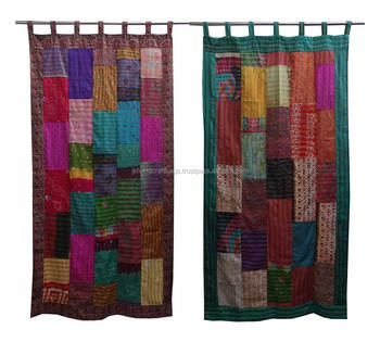 Wholesale Vintage Kantha Curtains Silk Sari Patchwork