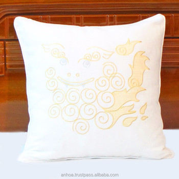 Okinawa Shisa Lion Embroidered Linen Decorative Pillow Cover Buy