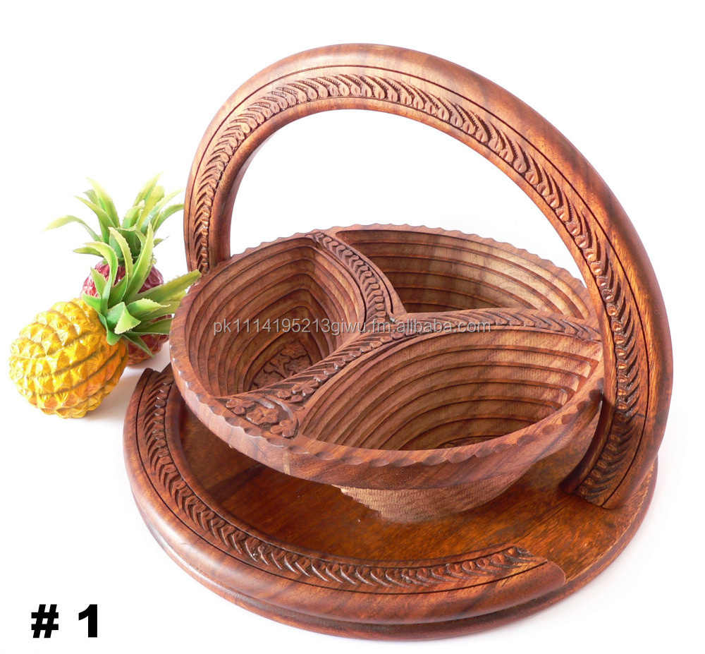 Wooden Hand Crafted Spring Basket with handle carving