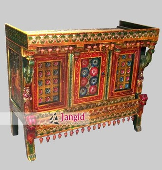Antique Wooden Hand Painted Buffet Sideboard Storage Cabinet Hand Painted  Antique Furniture