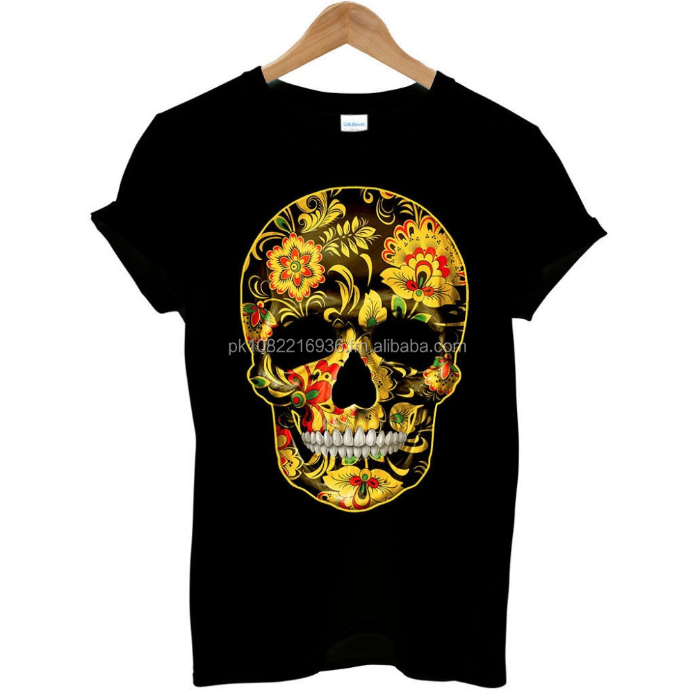 Cotton t Shirt Flower Skull Candy Day Of The Dead Mexico Sugar Skull Gothic Mens T Shirt #1 FC-4101