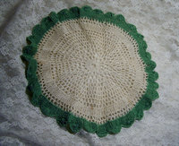 High demand Wholesale Vintage Crochet Green and White Doily, Table Topper, Cotton Table Cloth Runner, Old Linens, Arm Chair cobr