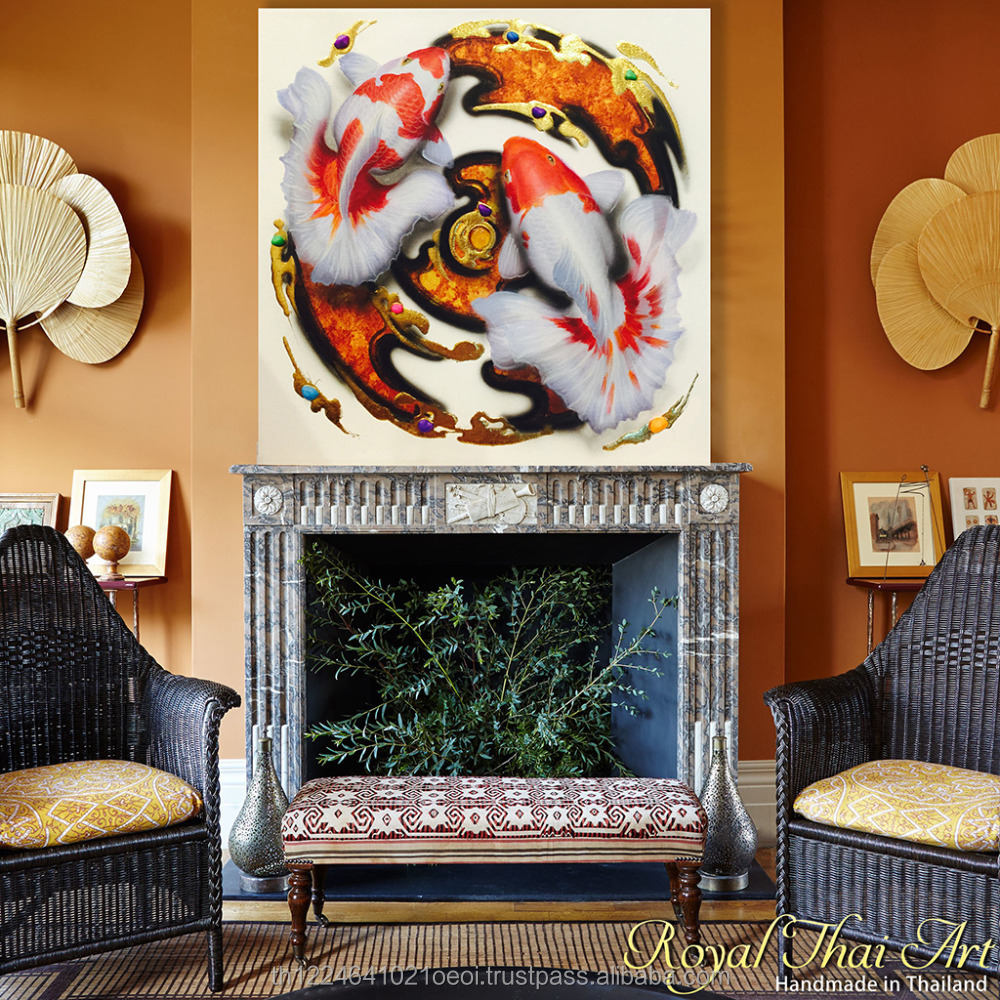 Luxury Thai Gold Plated Handmade 100x100cm Interior decoration Koi Goldfish canvas wall art painting