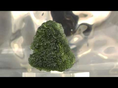 Glorious Raw Moldavite Crystal with Glowing Emerald Green Color