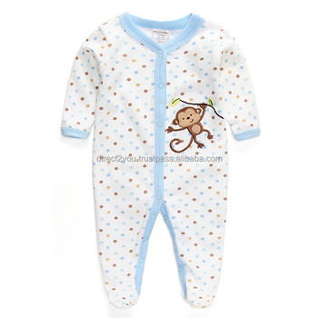 Baby Girls Boys 1 Piece Applique Snap Up Romper Sleep And Play