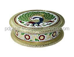 PD Craft Peacock design round shape 8*8 Dry fruit box Gift on Christmas Diwali Birthdays Marriage business gift