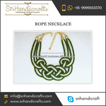 Branded Quality Olive Green Nautical Rope Necklace for Wedding