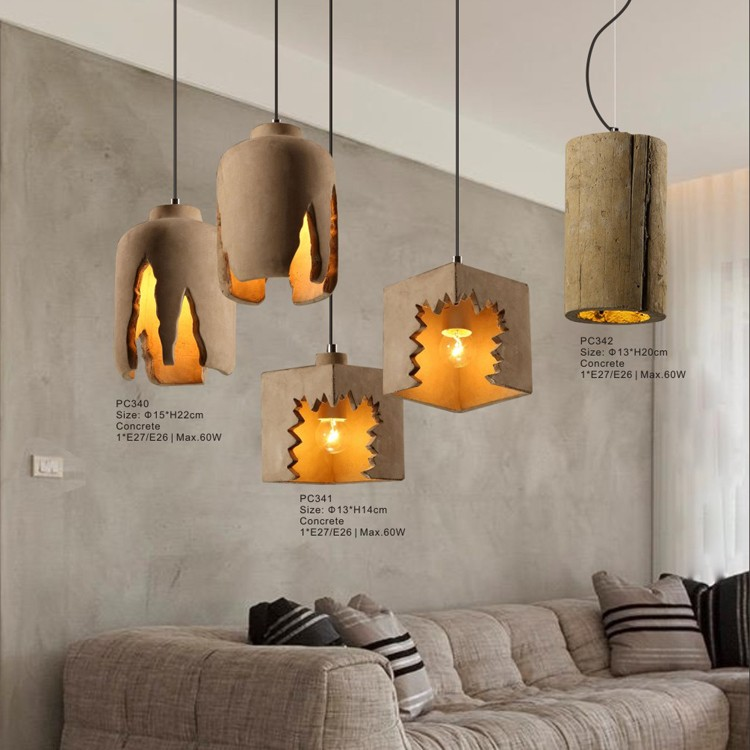 Diy ceiling light with ul decorative hanging concrete for Diy concrete lamp