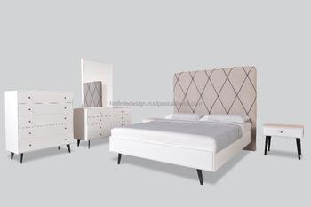 Nieuwe moderne houten slaapkamer set kussen hoofdeinde met staal