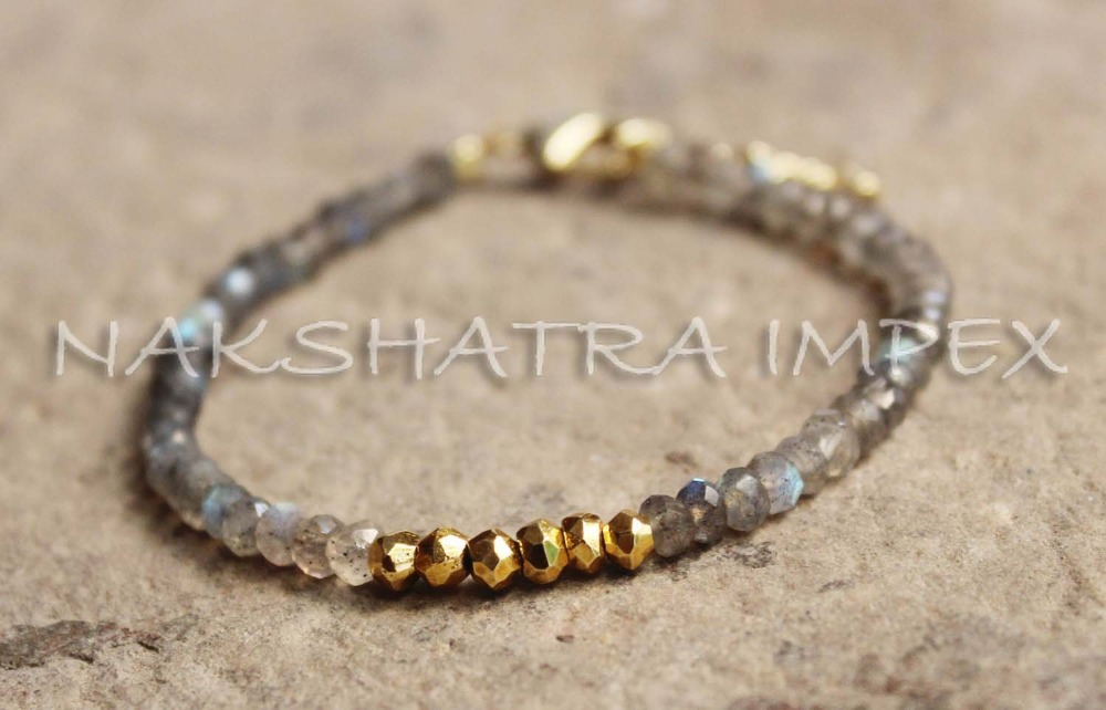 Beautiful Labradorite & Golden Pyrite 3-4mm Roundel Faceted Beaded 6.50 inch Gold Plated Bracelet