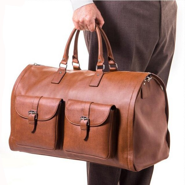 a433b8c86 Luxury Genuine Leather Travel Suit Bag Weekend Garment Duffel Bag ...