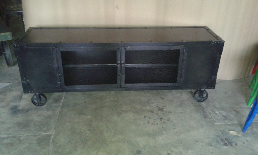 Industrial Style Furniture Black Metal Tv Stand Recycle