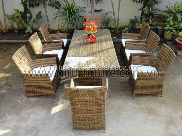 Best Selling 2015 Outdoor Patio Furniture 5 Piece Glass Top Dark Synthetic Wicker Dining Set - NEW