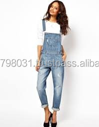2ce7f747673 Ladies baggy jeans women jumpsuit Full Length Pinafore adult denim dungaree
