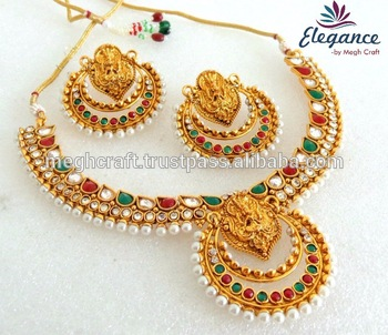 Whole South Indian Gold Plated Necklace Set Bollywood Ramleela Style Jewellery Wedding
