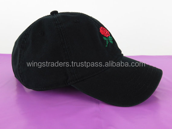 Red Rose Black Embroidered Cap,Baseball New Style Hat