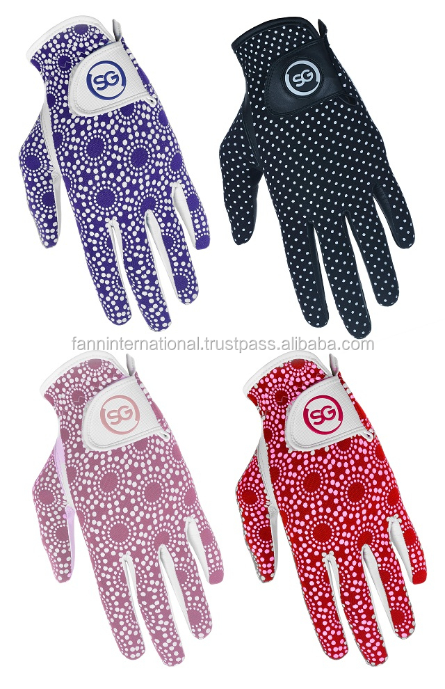 Ladies golf gloves silicone printing knitted lycra back cabretta leather palm golf gloves