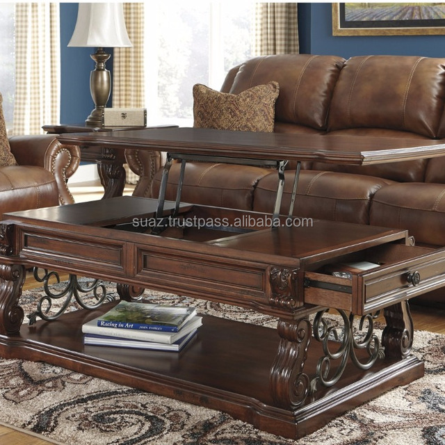 Traditional Coffee Table , Middle East Antique Hand Carved Wood Tables ,  Round Antique Hand Carved