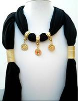 Crafty12 Attractive New Charm Hot Fashion Shiny Brass Coins Dark Black Color Viscous Scarf Necklace