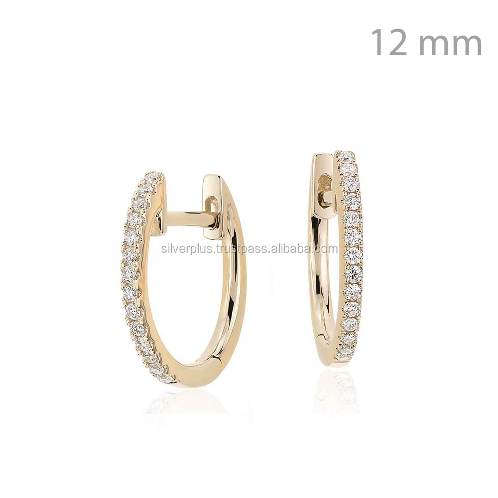 New Design Diamond Pave Huggie Earrings in 14k Solid Gold