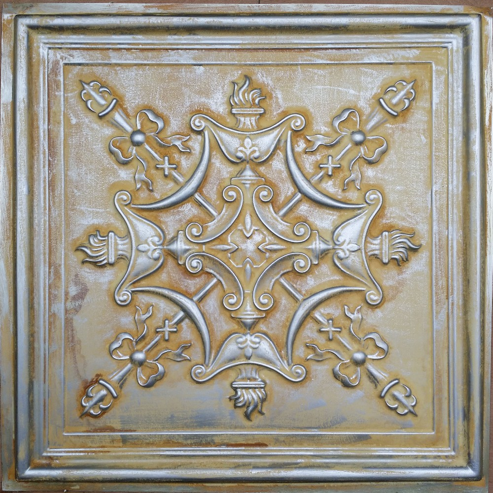 wholesale pl07 faux tin aged silver 3d relief ceiling tile cafe