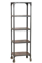 Iron And Wooden Movable Bookshelf With Wheels