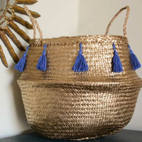Hottest Selling Natural Seagrass Belly Basket With Blue Brocade ...
