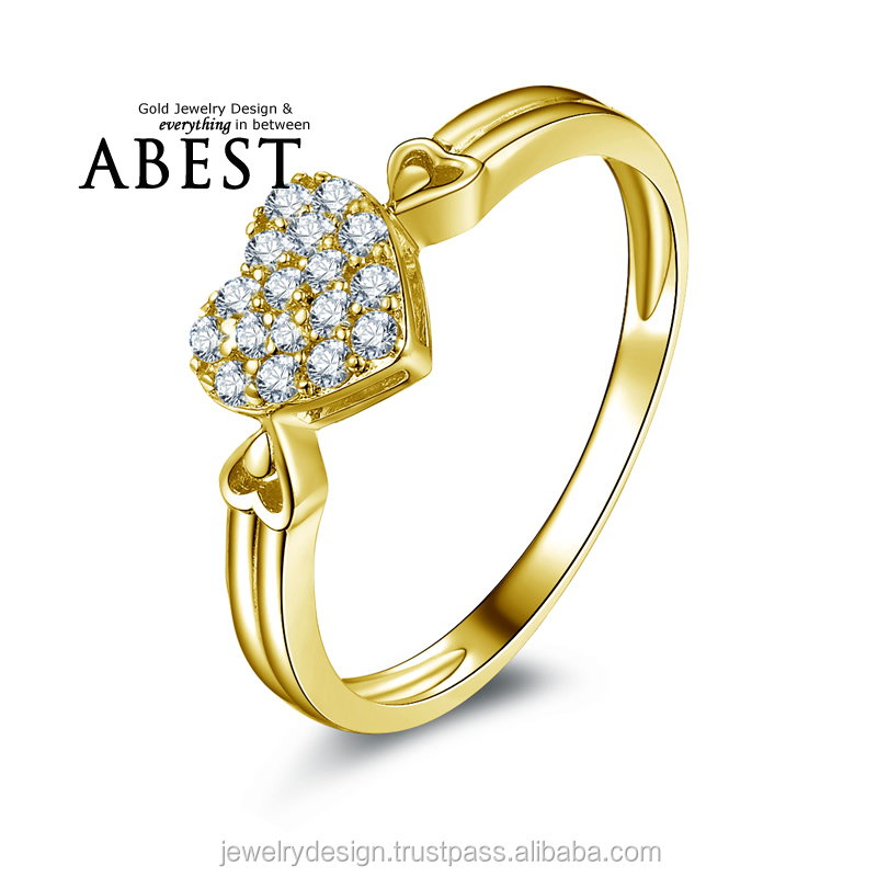 Cluster 10K Yellow Gold Love Heart Shape Micro Pave Engagement Wedding Ring Lady's Fashion Jewelry Ring