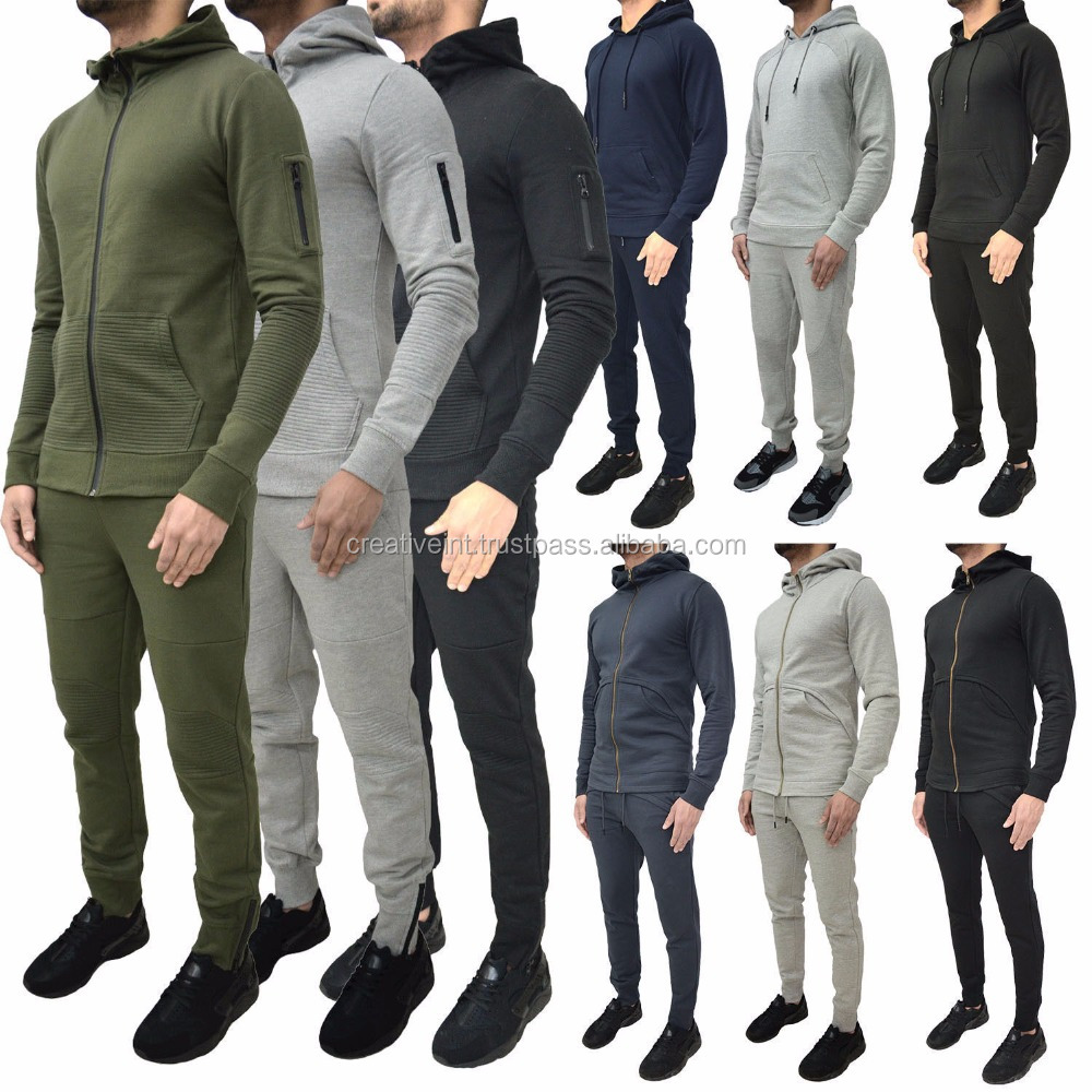 latest design tracksuit for men drawstring hood long sleeve pullover hoodies and mens joggers sweat suit