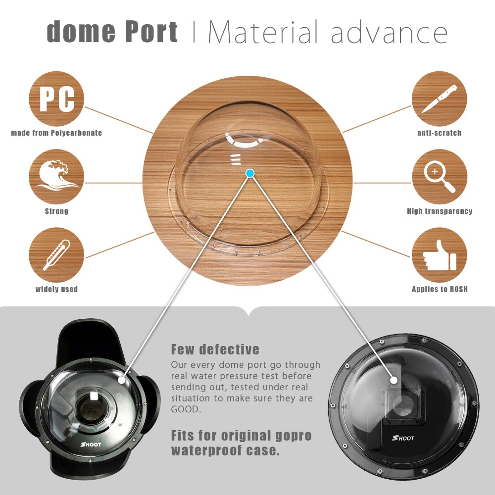"SHOOT 6"" Dome Port for GoPro Hero 5 Black Hero 7 6 Action Camera Accessories"