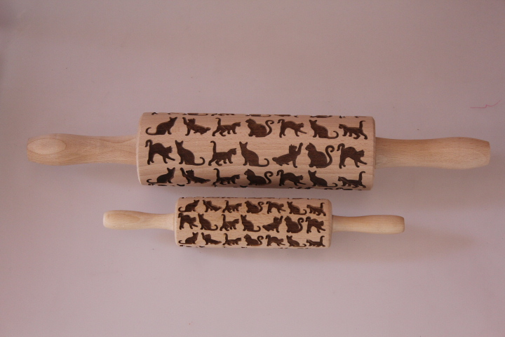 Rolling pin small engraved organic beech wood