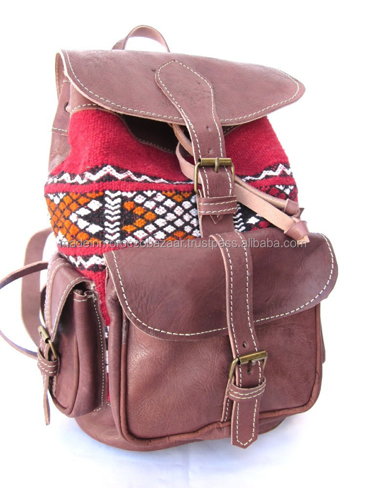 Beautiful Moroccan Handmade Natural Leather Kilim Backpacks For Girls